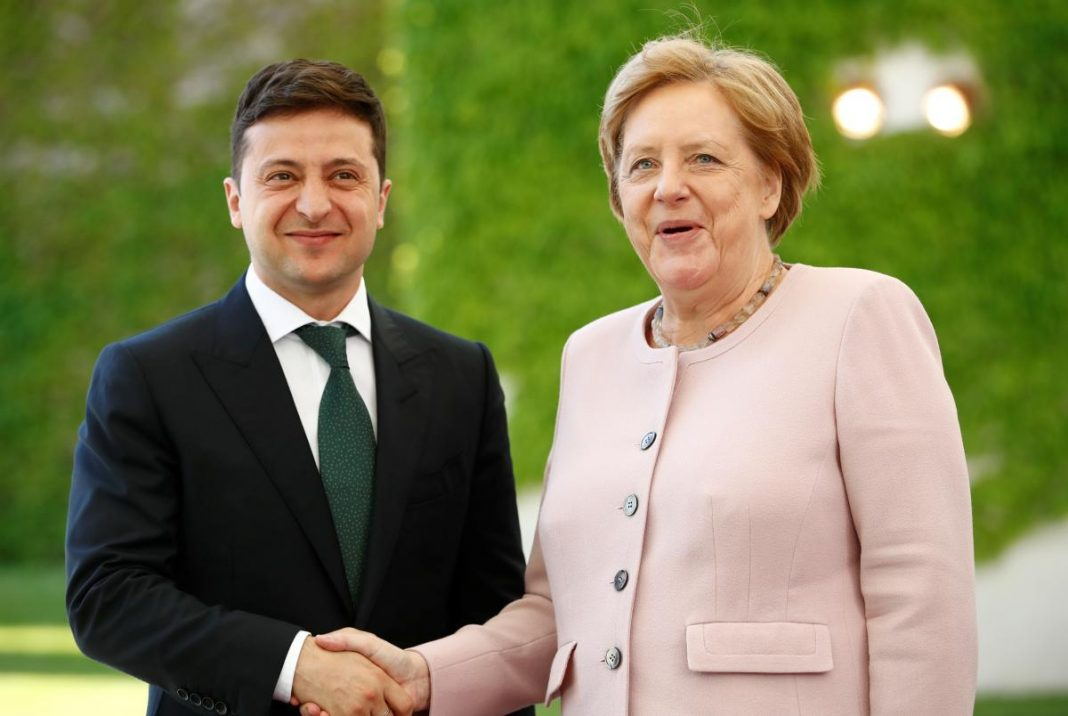 президент зеленский меркель фото